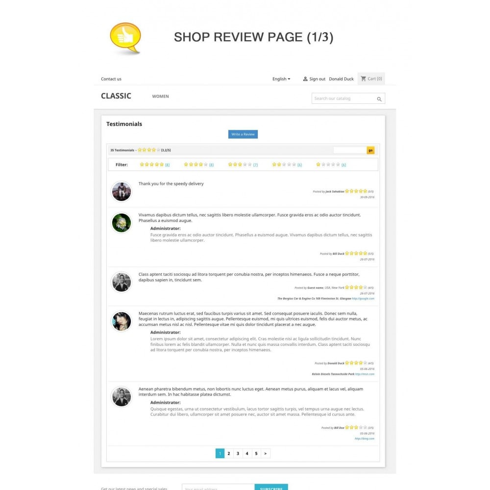 module - Отзывы клиентов - Shop Reviews + Avatars + Reminder + Rich Snippets - 1