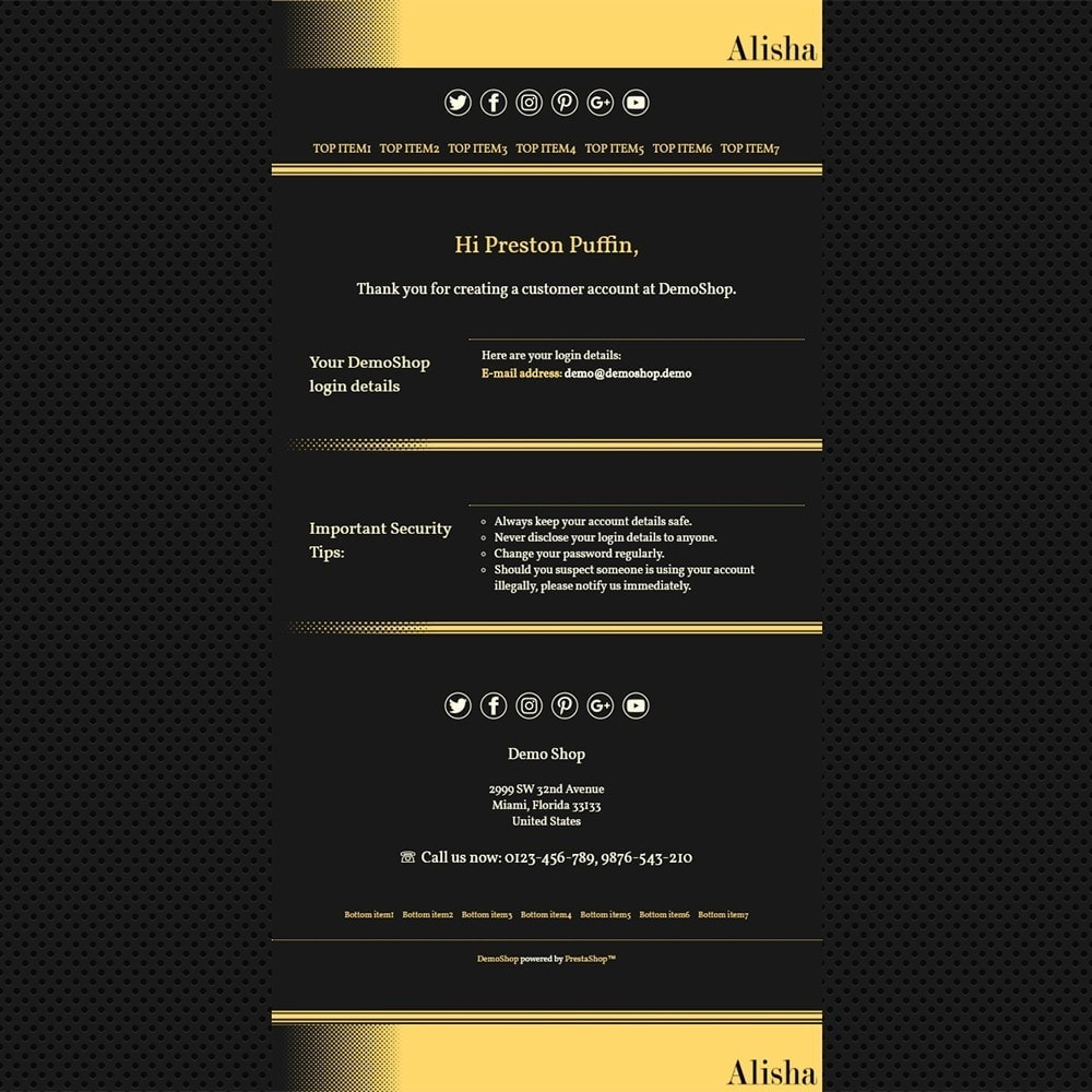 email - PrestaShop email templates - Alisha - Email templates - 2