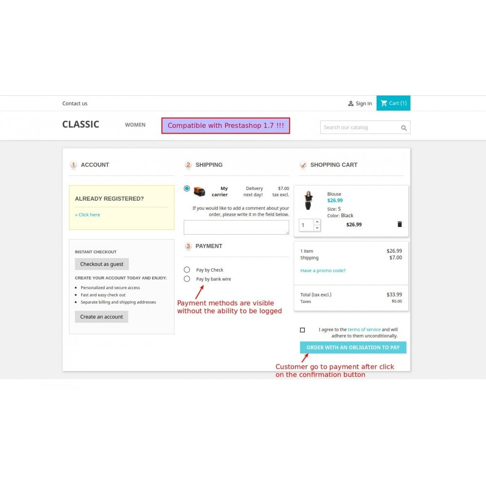 module - Express Checkout Prozesse - Responsive One Step Checkout / One Page Checkout - 1