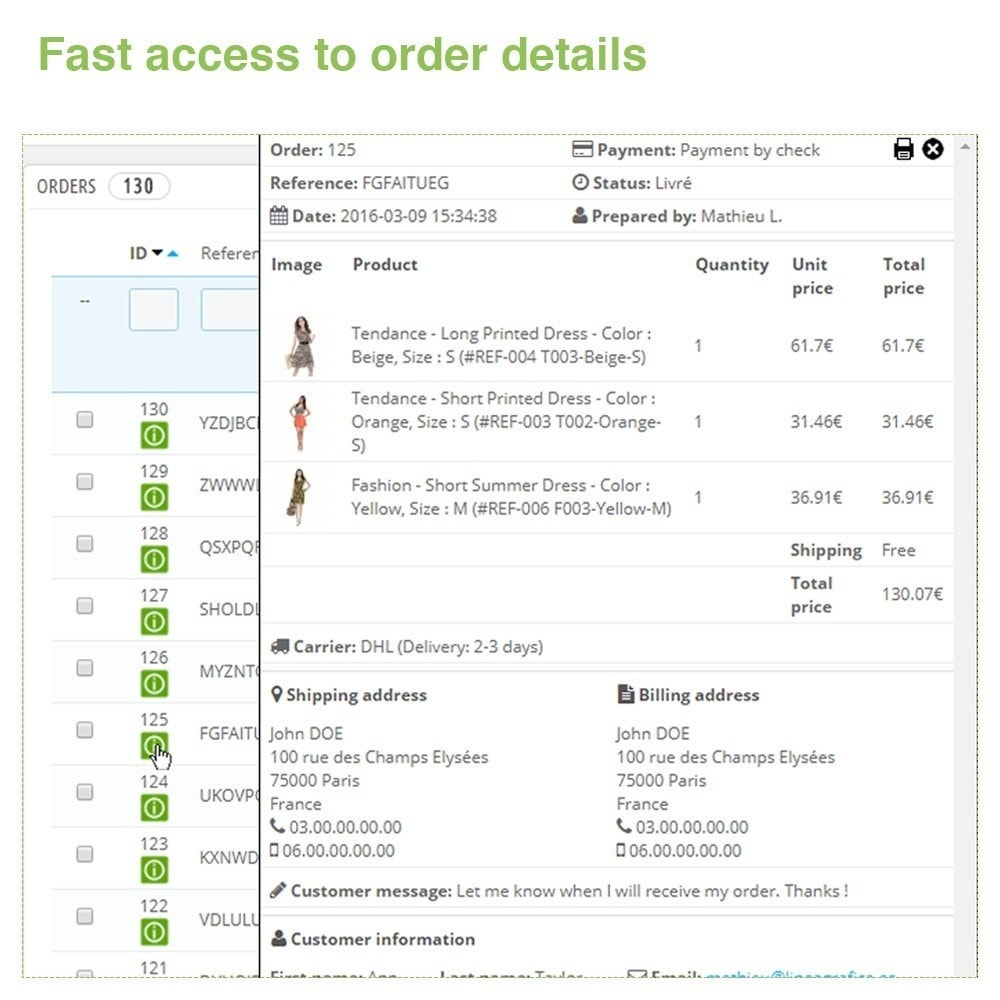 module - Orderbeheer - Fast Access to Order Details - Quick View / Overview - 2