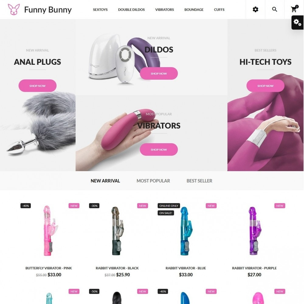 theme - Lingerie & Adultos - Funny Bunny - Sex Shop - 2