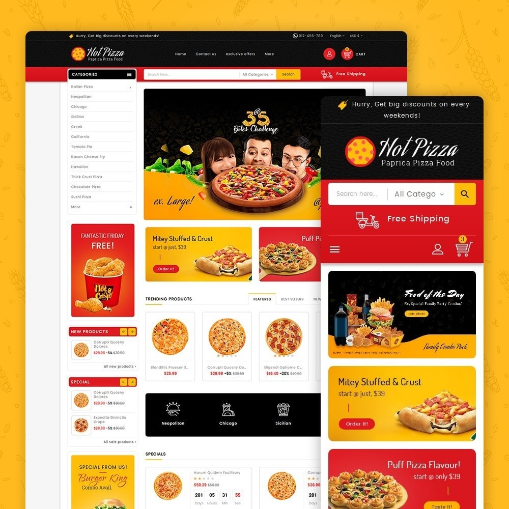 theme - Food & Restaurant - Paprika Pizza - Fast Food - 1