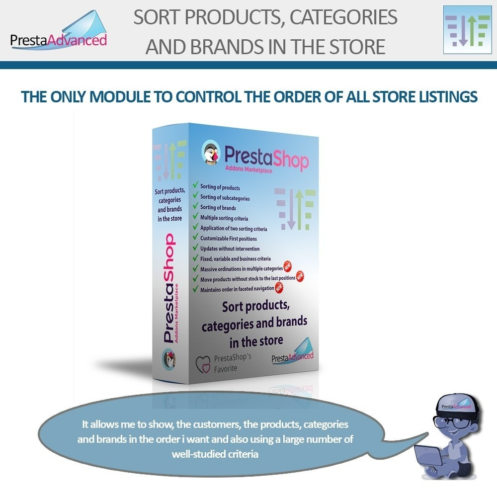 module - Page Customization - Sort products, categories and brands in the store - 1