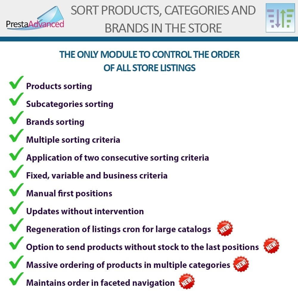 module - Personalisering van pagina's - Sort products, categories and brands in the store - 2