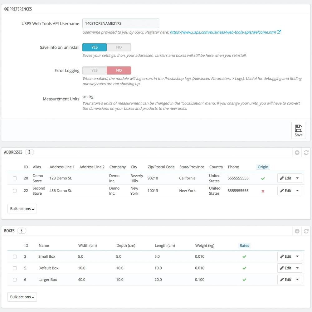 module - Verzendkosten - USPS Rates - 2