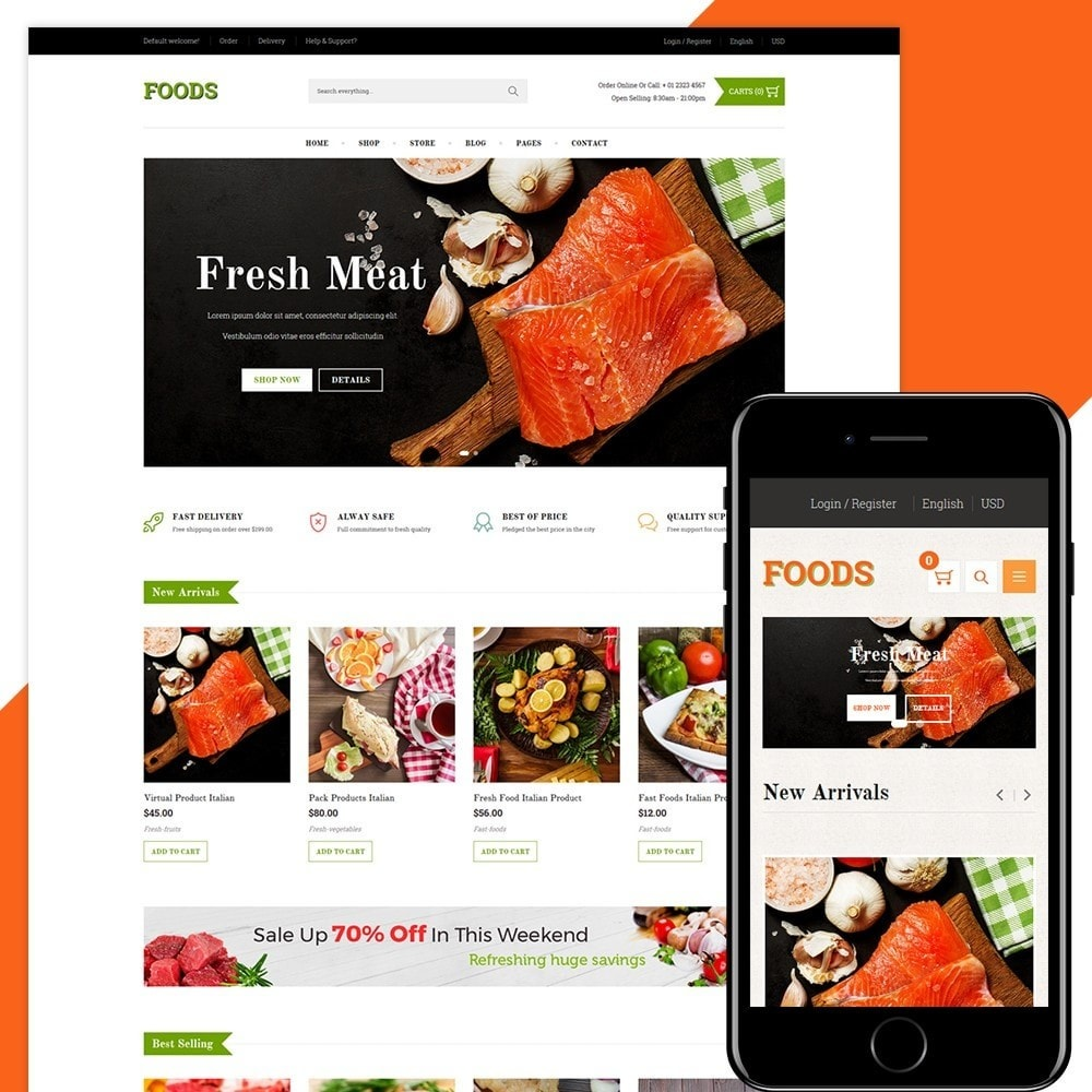 theme - Alimentos & Restaurantes - Food Shop - 1