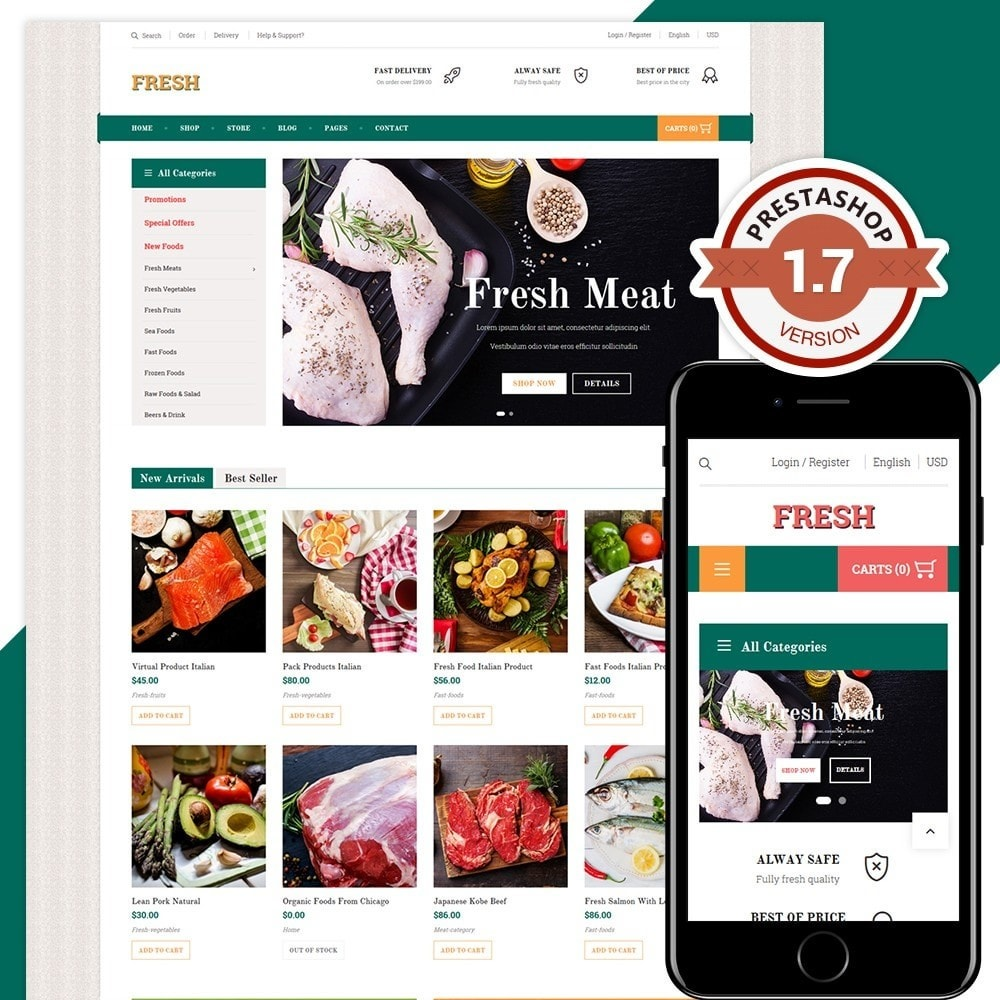 theme - Food & Restaurant - Fresh Store II - 1
