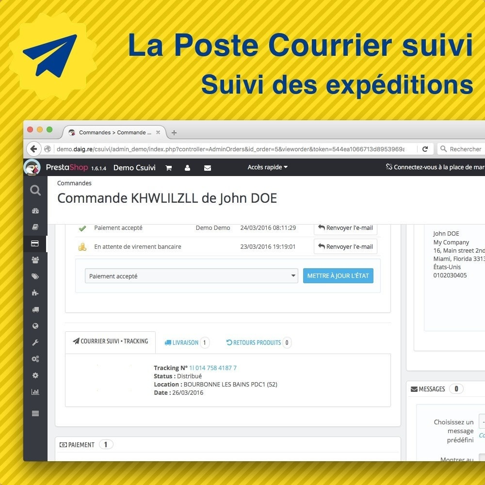 La poste suivi de mes exp ditions prestashop addons for Suivi de courrier demenagement la poste