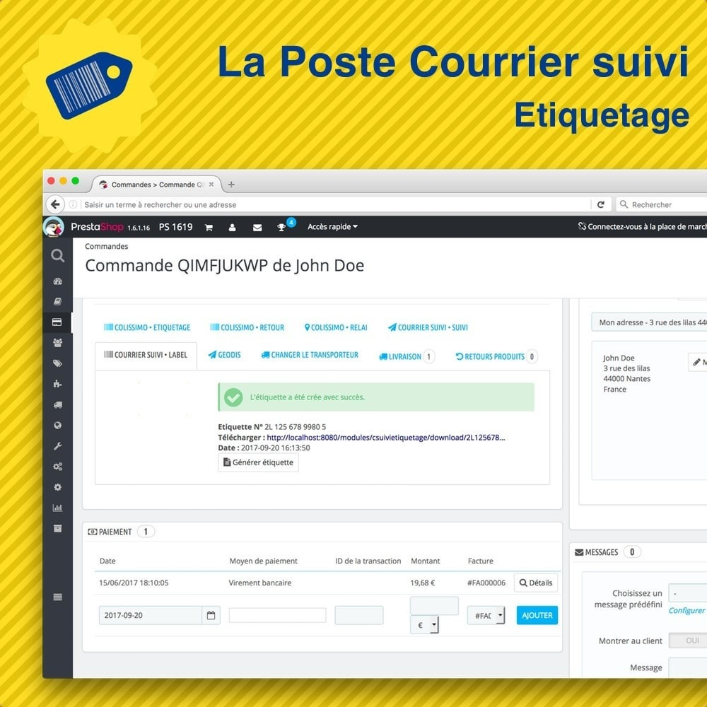 La poste courrier suivi etiquetage prestashop addons for Suivi de courrier demenagement la poste
