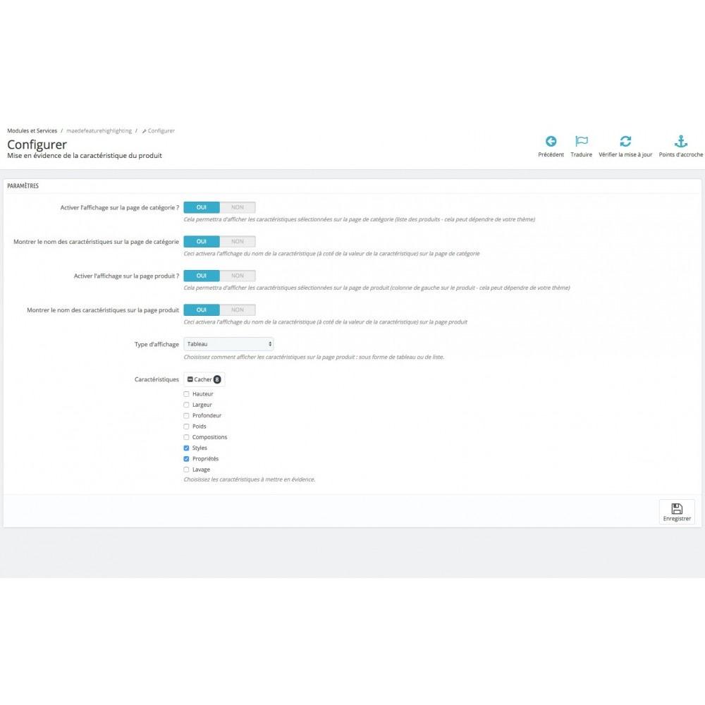 module - Information supplémentaire & Onglet produit - Mise en évidence de caractéristique produit - 7