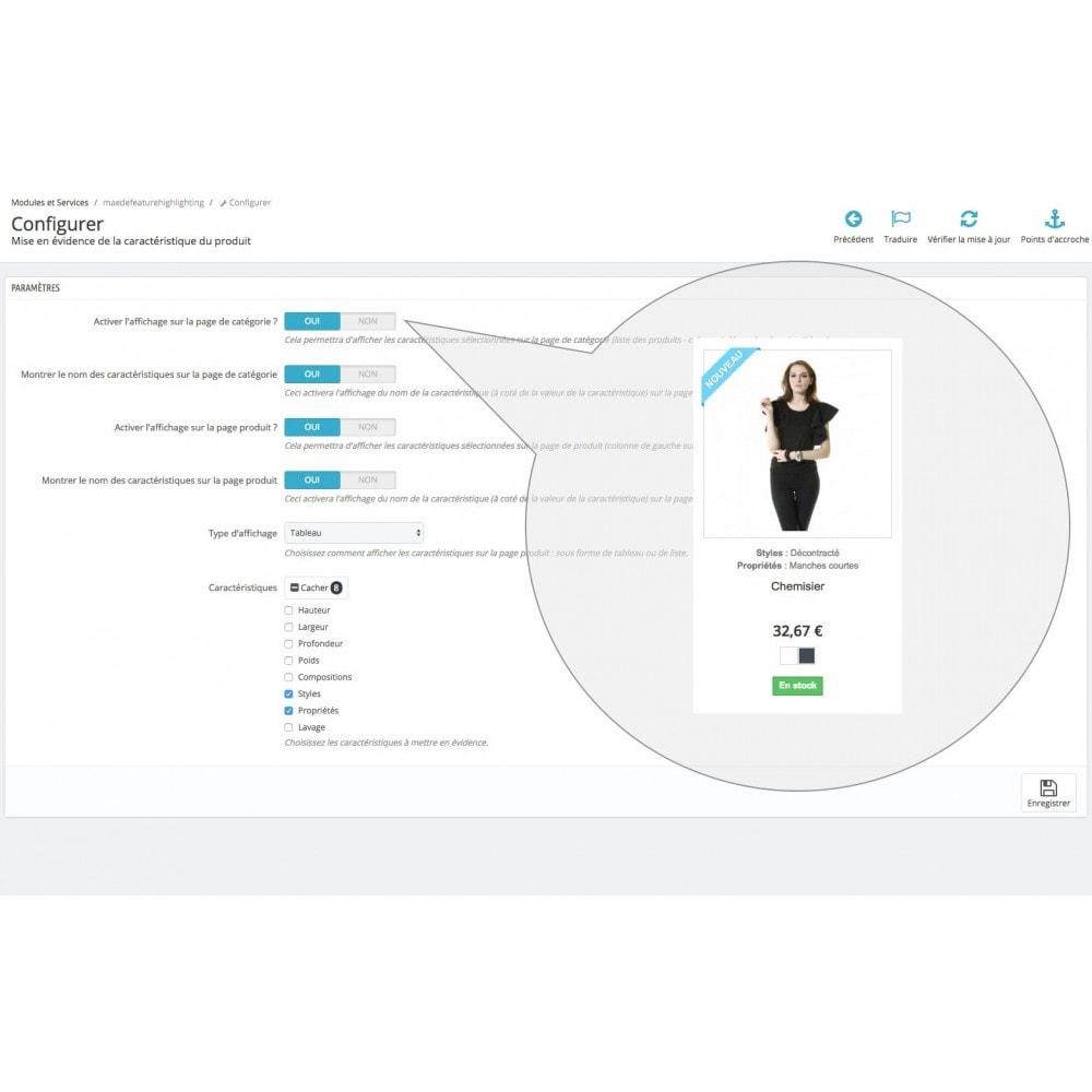 module - Information supplémentaire & Onglet produit - Mise en évidence de caractéristique produit - 8