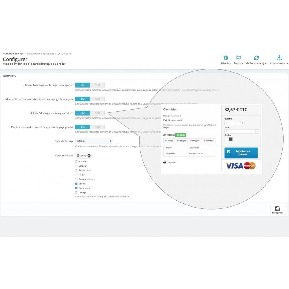 module - Information supplémentaire & Onglet produit - Mise en évidence de caractéristique produit - 10