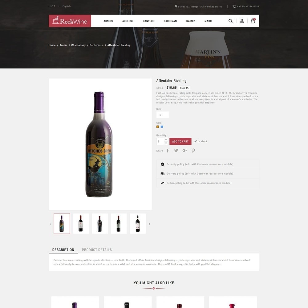 theme - Żywność & Restauracje - Recwine - Wine Store - 5