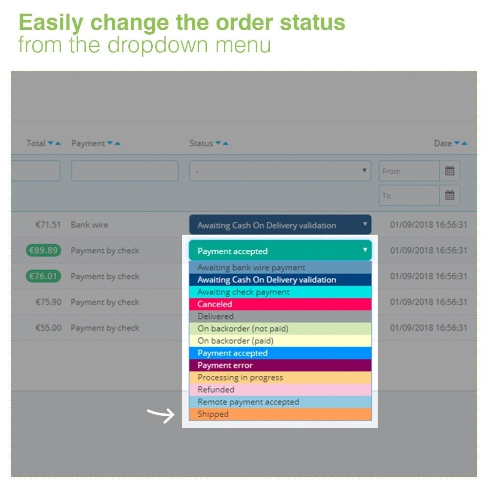 module - Управление заказами - Changing Order Status Directly from the Order List - 4