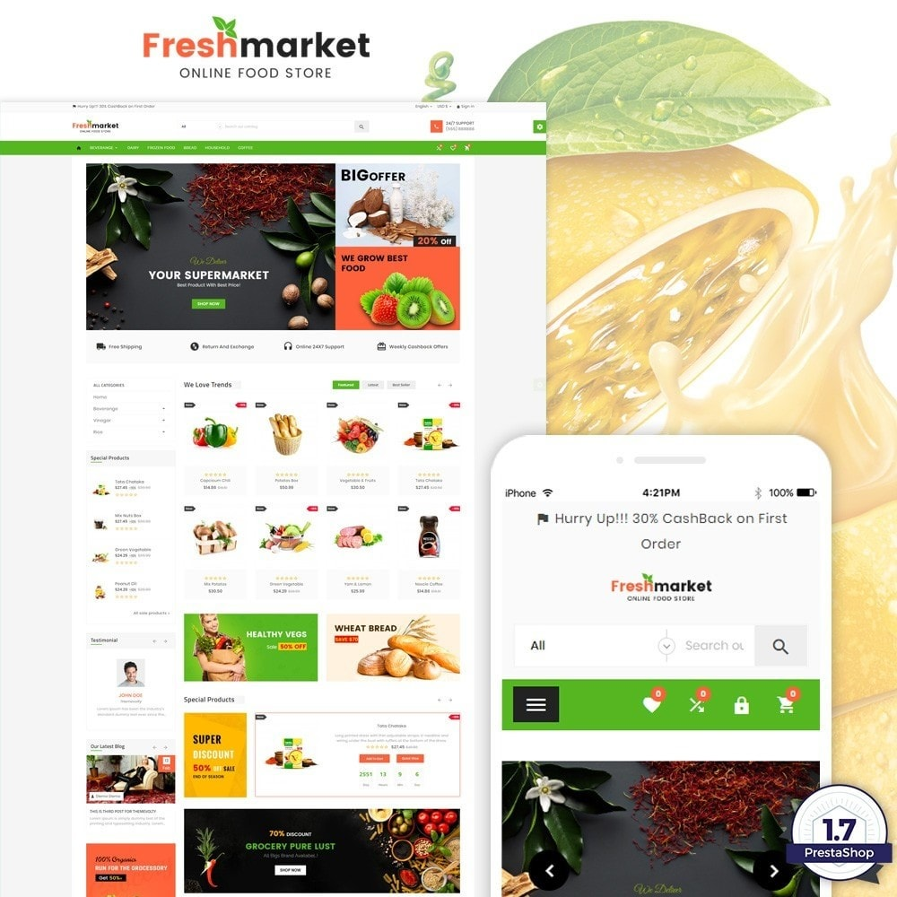theme - Lebensmittel & Restaurants - Fresh Market – Food Super Store v3 - 1